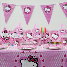 142pcs\lot Birthday Party Decoration Napkins Hello Kitty Kids Favors Tablecloth Paper Plates Cups Baby Shower Banners Supplies