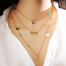 17KM New Multi Layer Chain Gold Color Tassel Infinity Necklace for Women Jewellery Bohemian Choker Colar collier