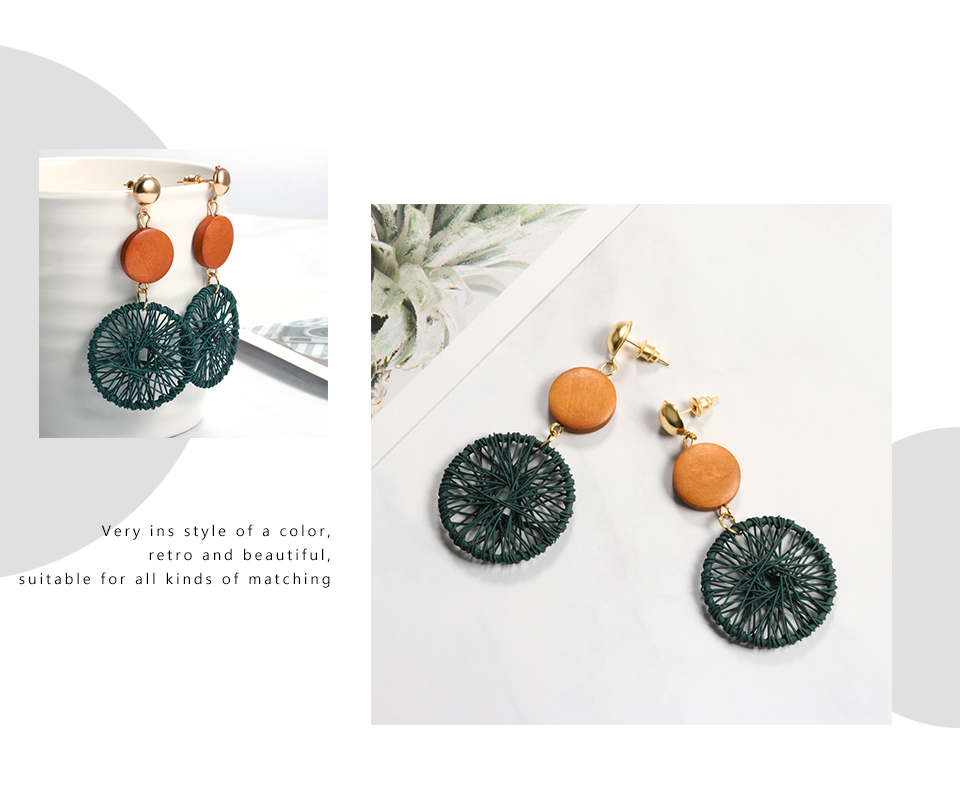 ZWC 19 Fashion Luxury Simple Big Round Earrings For Women Fashion Korean Style Hollow Mesh Drop Earrings Statement Jewelry 4