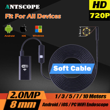 Wifi Endoscope Camera 8mm 2.0MP IOS Android HD 720P Soft Cable Mini Camera Borescope Pipe Camera Snake Camera Car Inspection
