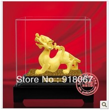YZ-R060 24K gold craft/ Gold Handicraft/corporate gift/fengshui Chinea sculpture  handwork animal money Pi Xiu office decor