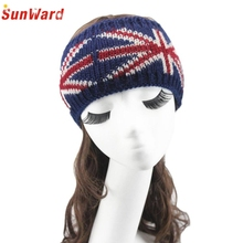 Jan6 Elegant Nobility Women Flag Pattern Knitted Headband Keep Warm Hairband Hair Accessories
