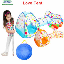 New arrival Children's  kid Tent Game Room Folding  3 IN 1 Tunnel Dots Cast Basketball Pool Game Wave Ocean Ball birthday gift