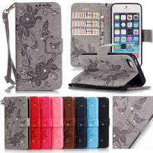 Luxury Flip Diamond Bling Butterfly Cover Hot For Coque Apple iPhone 5s Case Leather Wallet Cell Phone Cases For iPhone 5 5s SE<(China)