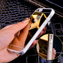 Fundas Silicon Soft Mirror TPU Celular on For iPhone 4 4S 5 SE 6 6S Plus 7 7 Plus Fashion Makeup Mirror Back Cover Case On 5s 6
