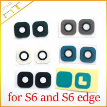 10pcs Glass material Back Main Camera Ring Cover Lens with sticker for samsung galaxy S6 G920 and S6 edge G925 / 5 color(China)