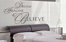 Dream Imagine & Believe wall art sticker quote Living room/ Kitchen/ Bedroom Wall Decals 3 sizes(China)