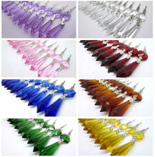 50PCS 63mm Crystal Prisms Chandelier Pendant Part with octagon beads and Silver Bowties for Birthday Party Wedding Cake Topper(China)