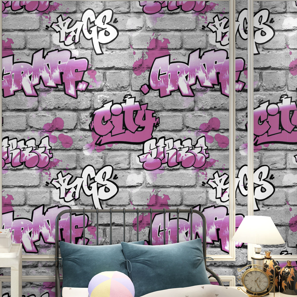0.53x10m Cartoon alphabet embossed cement brick pattern  wallpaper living room children bedroom  shop 3D non - woven wallpaper<br>