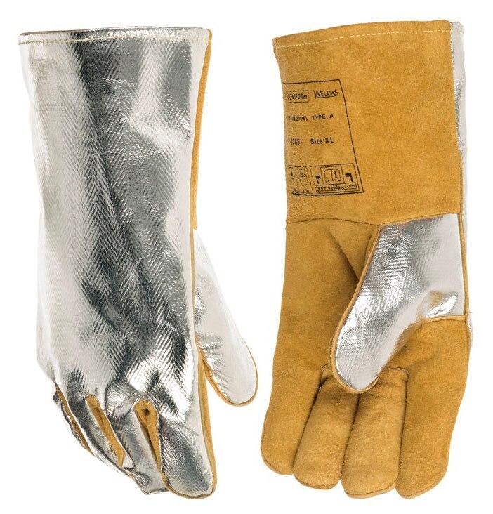 High Heat Resistant Aluminized PFR Rayon Welding Glove TIG MIG Safety Glove Cow Split Leather Work Glove<br>