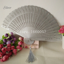 100pcs Wedding Gift Gold/Silver/White Fans Personalize Wood Hand Folding Fans+Customized Name and Date by Laser/Printing(China)