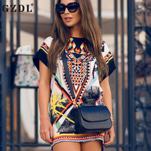 GZDL Women Fashion Summer O Neck Geometric Print Chinese Style Short Sleeve Multi Color Casual Chiffon Mini Shift Dress CL3093