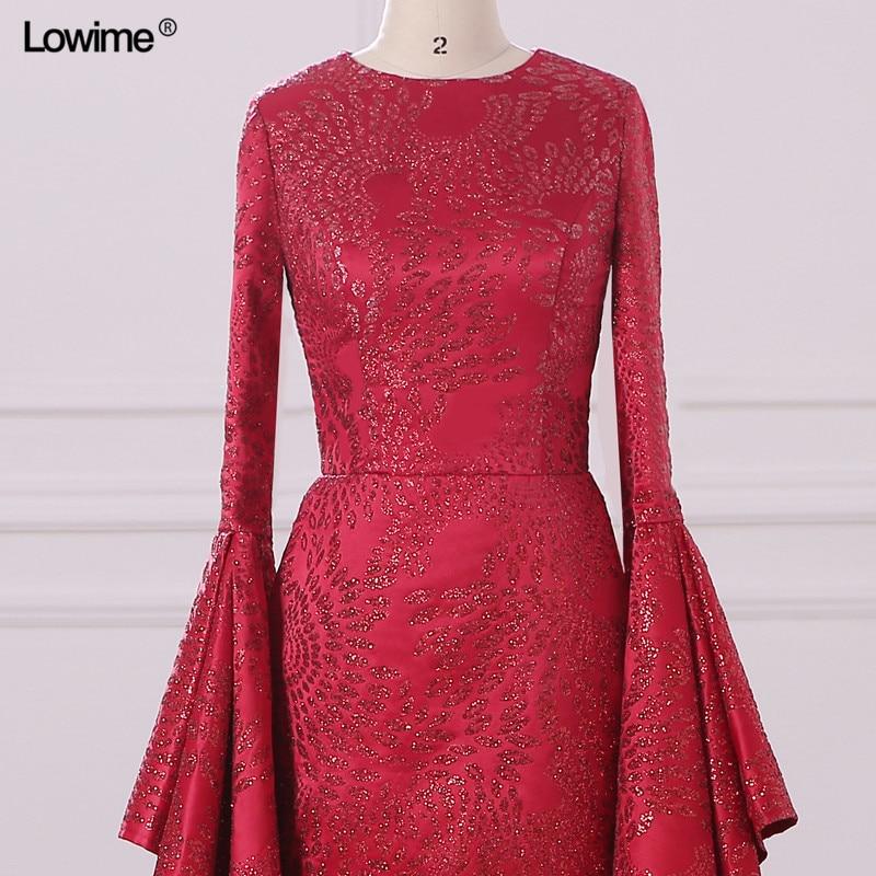 Mermaid Muslim Arabic Evening Dresses Scoop Red Custom Made Appliques Sequins Robe De Soiree Long Prom 2018 (2)