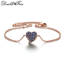 Double Fair Blue/Red/White Lovly Heart Silver/Rose Gold Color Bracelets & Bangles Fashion Cubic Zironia Jewelry For Women DFH188(China)