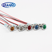 LED Metal Indicator light 6mm waterproof Signal lamp 6V 12V 24V 220v with wire red yellow blue green white 6ZSD.X