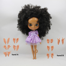 free shipping factory blyth doll nude doll 1/6 30cm bjd neo dark skin joint body wavy hair toy gift