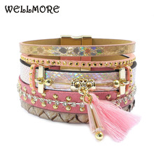 WELLMORE 17 new Leather bracelet,tassel, crystal ,Bohemian bracelets&bangles for women jewelry wholesale(China)