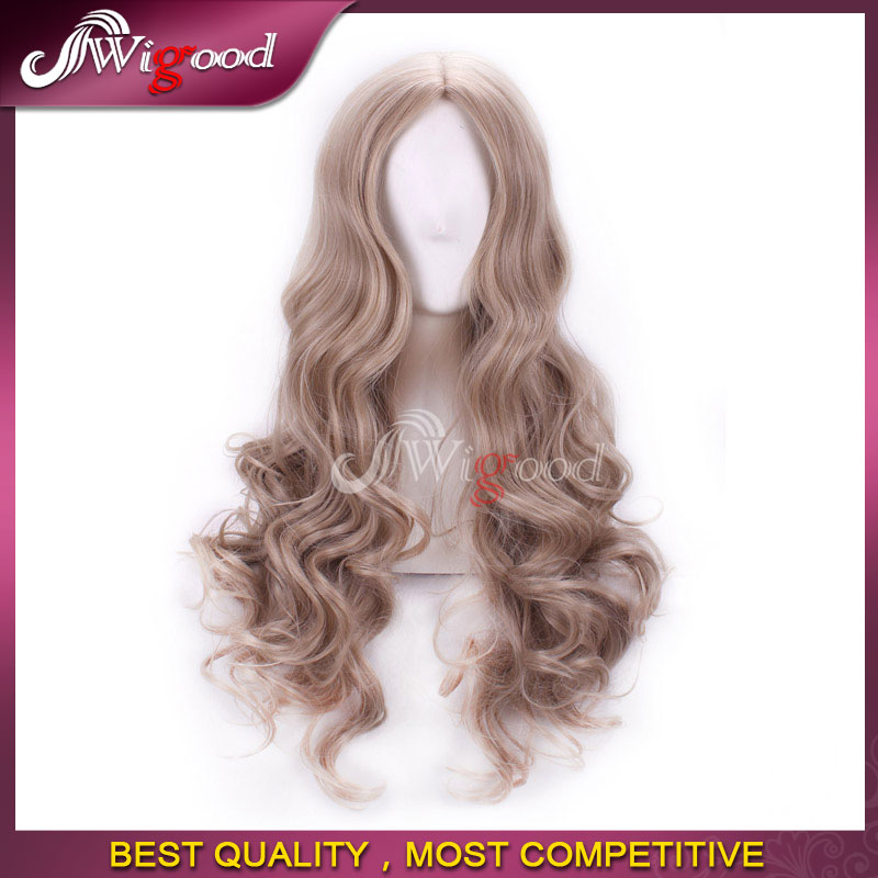 Lady Wigs Cinderella Cosplay 65cm Gray Long Curly Wig High Quality Cheap Synthetic Female Anime Hair+Free wig cap<br><br>Aliexpress