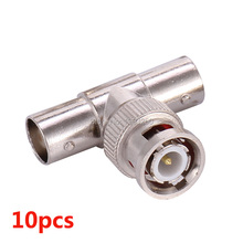 10x BNC T Adapter Splitter Connector Coupler 1 Male to 2 Female CCTV Jack Plug(China)