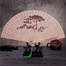 30pcs/lot The High-end Gift Hand Fan Sandalwood Incense with Imitation Yacca Hollow Printing with Fans Box Free Shipping ZA3500(China)