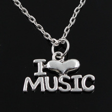 new fashion I love music Pendants round cross chain short long Mens Womens silver  necklace Jewelry Gift