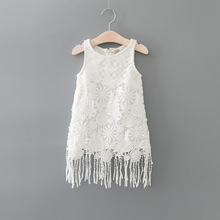 2017 Fashion Children Summer Girls Tassel Lace Dresses Baby Girl Sleeveless Fringe Sundress Kids Cute Princess Clothes