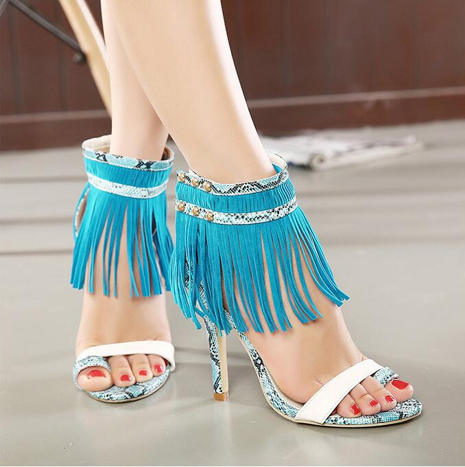 2017 Sexy Women Sandals Tassel Designer Peep Toe High Heels Shoes Woman Party Shoes Woman Ladies Open Toe Lace up Sandals zapato<br><br>Aliexpress