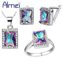 Almei Dubai Luxury Zirconia Rainbow Bridal Necklace and Earring Ring Sets Costume Jewelry Set Women With Blue Pink Stone T483