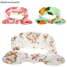 Naturalwell Baby Girl Flower Headwraps Toddler Turban Bow Knot Head Wrap Cotton Stretch Headband Newborns Photo Prop 1pc HB124