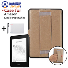 Ultra thin PU leather cover case protective shell skin for Amazon Kindle Paperwhite 1 2/paperwhite3(New model)+free stylus+film(China)