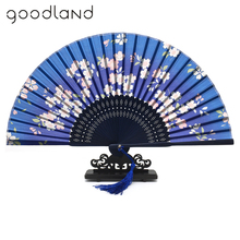 Free Shipping 100pcs Silk wedding hand fans Butterflies Sakura Folding Hand Fan Wedding Silk Hand Fans Discount Favors And Gifts(China)