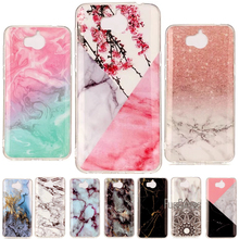 For Huawei Y5 2017 Case 5.0 inch Granite Marble Skin Soft TPU Silicone Back Cover For Huawei Y6 2017 Case Phone Cases Coque Capa(China)