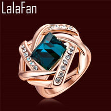AAA CZ Diamond Real Rose Gold Plated Ring For China Square Emerald Wedding Rings For Women Bague Femme Jewelry Bijoux BL031