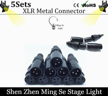 5sets 3-PIN  XLR metal Connector for DMX Cable, LED PAR stage lights dmx cable dj equipment