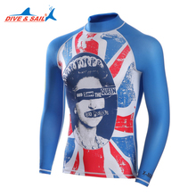 Dive Sail long sleeve mens rash guards shirt UV Protection for snorkeling diving rashguard beach swimming swimsuits spf(China)