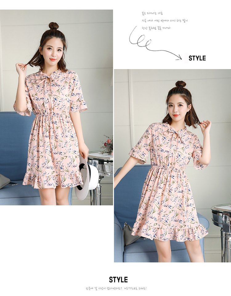 2018 Free Shipping New Fashion Floral Chiffon Summer Dresses Sweet Thin Word Slim Women Work Wear Print Dress Casual Cute Hot 3