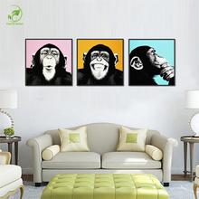 3pcs Melamine Sponge Board Canvas Oil Painting Picture Funny Monkey Frame Living Room Wall Art Paint Animal Prints On Canvas Art