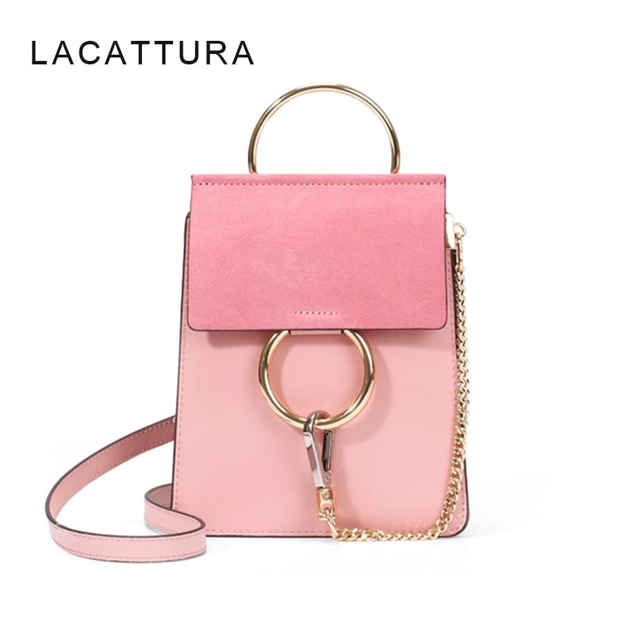 LACATTURA Hot Sale Famous Brand Design Women Handbag High Quality Genuine Cowhide Leather Cloe Bag Mini Shoulder Bag With Ring<br>