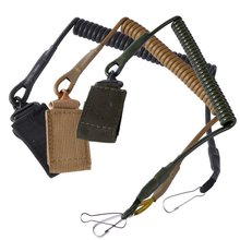 Quick Release Shooting Hunting Army Combat Gear Black/Tan Airsoft Tactical Single Point Pistol Handgun Spring Lanyard Sling