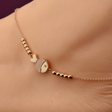 VOGUESS Hot Selling Fashion Cute Fish Anklet in Rose Gold Color Steel Chain Bracelet Women Girl Lover Barefoot Chain Jewelry