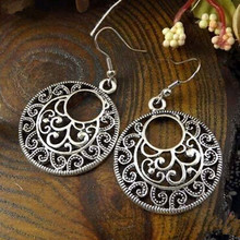 2016 New Boho Vintage Tibetan Silver Round Ear Hook Tribal Earrings Retro Big Flower Long Hanging Earrings Statement Jewelry(China)