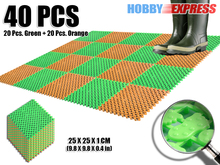 New 40 pcs Orange and Green Anti Slip Indoor/Outdoor Plastic Flooring Mat Tiles Foot Prints Pattern 25 x 25 cm KK1128