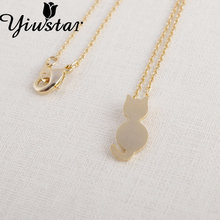 Yiustar 2017 Fashion Spring Style Plain Cat Shape Women Necklaces Trendy Long Chain Statement Pendant Necklaces For Women XL126