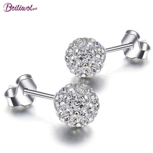 Fashion Earrings For Women 925 Sterling Silver Female Stud Earring 10mm Ball Rhinestone Beads Crystal Shamballa Jewelry Gift