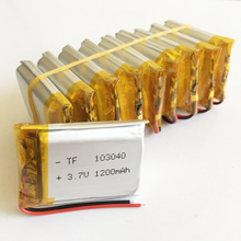 Wholesale 10 pcs 3.7V 1200mAh Lithium Polymer LiPo Rechargeable Battery For GPS PSP mobile video game PAD E-books Tablet 103040