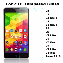 Tempered Glass Film For ZTE Blade L2 L3 L4 A460 L5 L5Plus S2 S291 S6 Q7 V2 V7 Lite V5 Pro V815W Axon 2015 Screen Protector