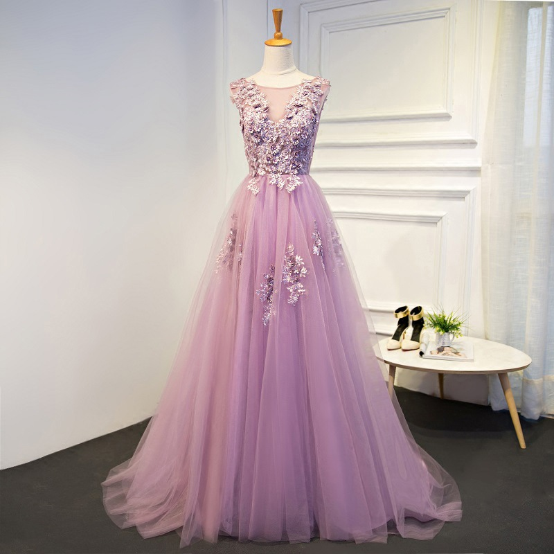 Sweet Violet Flower Beading Lace Vestido De Festa Longo Flowers Appliques Pleats A-line Prom Dresses Backless Prom Party Gowns