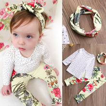 2016 Newest 3pcs Baby Girls Kids Clothes Sets Pink Casual T-shirt+Print Pants+Headband Outfits fall autumn spring Clothes Set