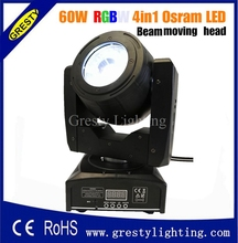 Osram 60W COB led beam moving head wash lights RGBW 4 in 1 dmx dj stage disco lighting