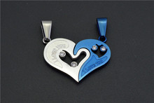Hot sell Love splicing lovers heart Best friend pendant necklace half a person selling exquisite necklace best gift